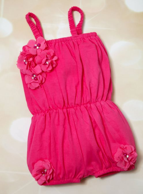 Hot Pink Baby Girls Cotton Romper with Chiffon Flowers-baby girl, infant romper, romper, baby romper, summer, shorts, outfit