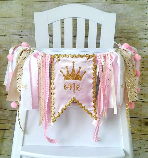 Crown Pink & Gold First Birthday Party High Chair Banner-Crown Pink and Gold High Chair Banner, Can Be Used As Wall Banner, High Chair Tutu, Pink and Gold Birthday, Princess Banner, Crown Banner, light pink, infant, baby girl, birthday party, 1st birthday, first birthday