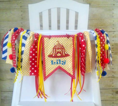 Circus First Birthday Party High Chair Banner-High Chair Banner, High Chair Tutu, Circus Birthday, Wall Garland, Carnival Birthday, blue, yellow, red, first birthday, 1st, birthday, party, birthday party, banner, party banner, high chair banner