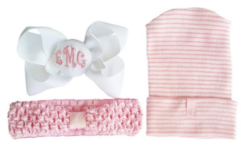 Newborn Hospital Hat & Headband with detachable Personalized Bow-pink, white, monogram, monogrammed, infant, baby, girl, boutique, couture, hospital hat, baby girl, gift set, shower gift,