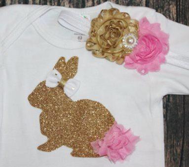 Pink & Glitter Gold Easter Bunny Tutu Outfit Set-pink and gold, easter outfit, easter, bunny, glitter, tutu, set