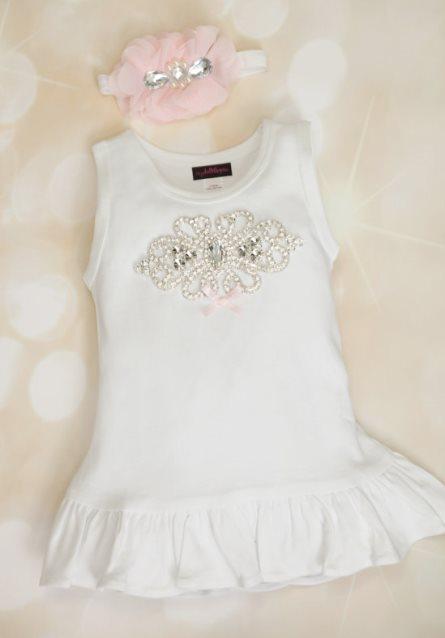 Toddler White Cotton Big Rhinestone Dress with Matching Headband-rhinestone, bling, sleeveless, dress, light pink, summer, toddler, outfit, sister, big sister
