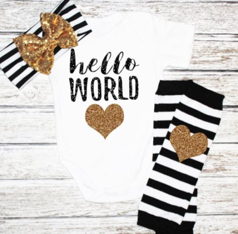 Black & Gold Glitter Hello World Onesie Outfit Headband Set-Baby Girl Take Home Outfit, Newborn Baby Girl, Hello World Bodysuit, Black Gold, stripe legwarmers, Gold Black Headband Set, Custom shirt, newborn outfit, newborn, baby, girl, boutique clothing, set, glitter, gold
