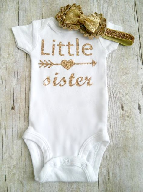 Little Sister Gold Glitter Onesie-Little Sister Gold Glitter Bodysuit, Arrow, Tribal, Aztec, Gold Glitter Bodysuit, Newborn Bodysuit, Take Home Outfit, sparkle, gold, onesie, newborn, infant, baby, girl, outfit