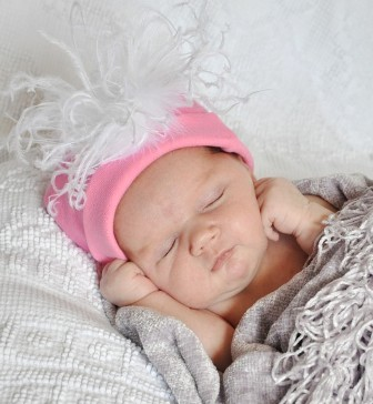 Pink & White Cotton-Knit Beanie Feather Hat-curly ostrich feathers puff, infant, baby girl, boutique feather hat