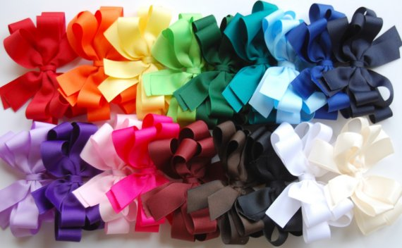All Year Boutique Hair Bow Set-basic hair bow, layered boutique bow, solid bow, red, orange, yellow, apple green, forest green, teal, light blue, royal blue, navy blue, lavender, purple, light pink, shocking pink, burgandy, brown, black, white, ivory