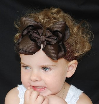 Solid Brown Hair Bow Headband-all brown, hairbow, brown