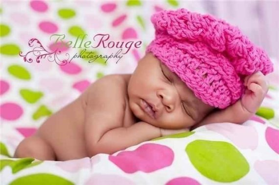 Hot Pink Crochet Baby Newsboy Hat-hot pink, infant, baby girl, newborn, crochet, hat