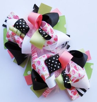 Sweet Baby Rose Loopy Pigtail Hair Bow Set-pigtails, black, green, pink, flower, infant, baby, boutique hair bows