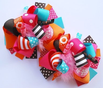 Vacation Brights Loopy Pigtail Hair Bow Set-pink, orange, turquoise and brown, colorful, boutique hair bow, pigtails, pigtal set