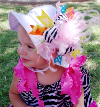 White Interchangeable Sunhat with Over the Top Bright Zebra Bow-colorful, summer, sun hat, infant, baby girl, hairbow, hair bow
