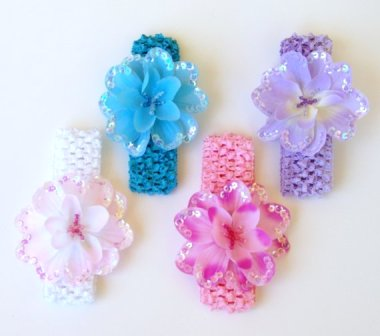Set of 4 Sequin Flower Beaded Headbands-pastel, pink, lavebder, white, flower headband set, infant, newborn, baby girl