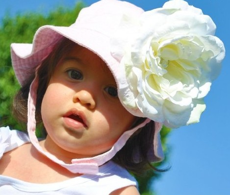 Light Pink Sunhat with White Peony Flower