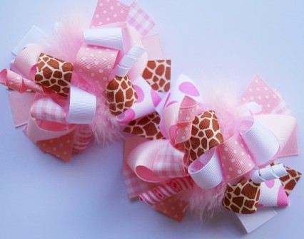 Sweet Giraffe Loopy Pigtail Hair Bow Set-pink, white, giraffe, boutique hair bows, pigtails , pigtail set