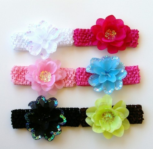 Set of 6 Bright Sequin Flower Headbands Starter Gift Set-Summer, sparkle, flower, headband, gift set, set