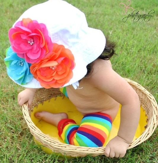 Rainbow Colorful Cluster Flower Sunhat-turquoise, orange, hot pink, white, infant, baby girl, summer, sun hat