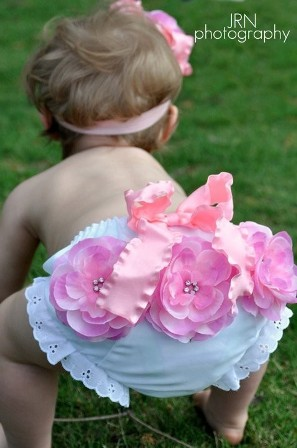 Pink Flower Cluster Bloomer Headband Set-Double Ruffle Bow, Flower, diaper cover, bloomers, gift set, pink, white