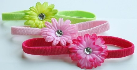 Spring Fling Itty Bitty Flowerband Set-pink, hot pink, lime, infant, baby, headband, hair bow, flower baby, spring colors