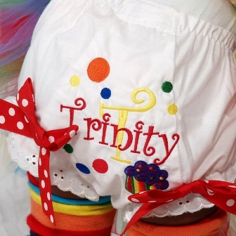 Rainbow Dots Bow Diaper Bloomers
