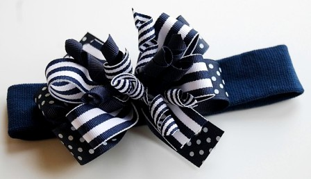 Navy Blue Layered Hair Bow Headband-navy blue, infant, baby, headband, boutique hair bow