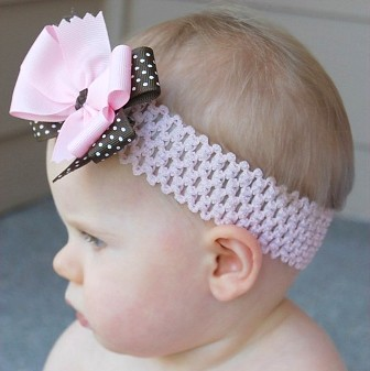 Pink & Brown Dot Hair Bow Headband-pink, brown, infant, baby, headband, boutique hair bow