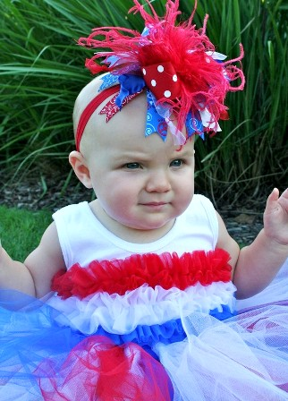 4th of July Patriotic - Over-the-Top Hair Bow Headband-red, white, blue, infant, baby, headband, boutique over the top hair bow