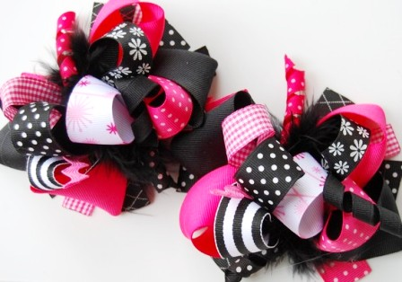 Hot Pink & Black Loopy Pigtail Hair Bow Set-hot pink and, black, pigtail set, boutique hair bows, infant, baby, girl