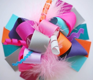 Fun Colors Loopy Hair Bow-colorful, orange, grey, turquoise, pink, purple, boutique hair bow