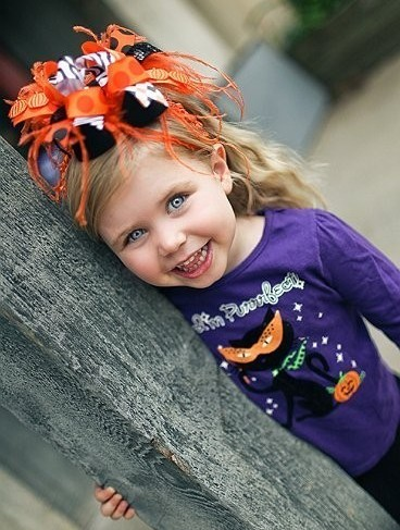 Funky Halloween - Over-the-Top Hair Bow Headband-orange, black, halloween, party