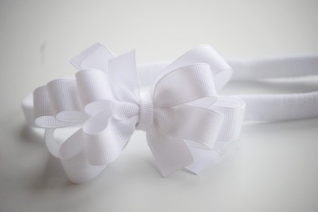 Solid White Hair Bow Headband-all white, solid white, hairbow