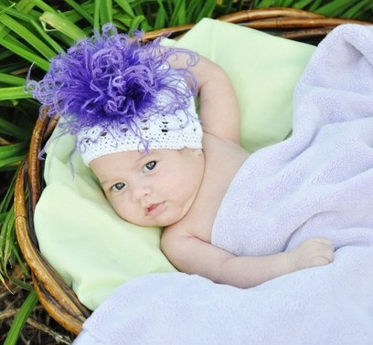 Purple & White Crocheted Feather Beanie Hat-curly ostrich feather puff, infant, baby girl, infant, baby girl, boutique knit hat