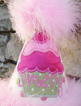 Cupcake Pink Green Dots Birthday Party Hat-custom birthday party hat, boutique birthday hat, birthday cupcake, baby girl