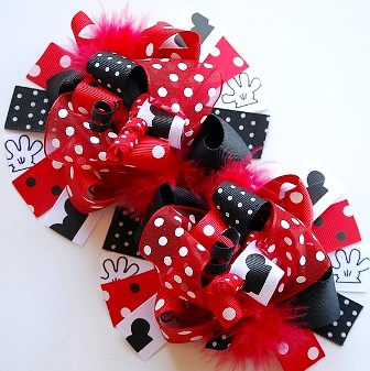 Magical Vacation Loopy Pigtail Hair Bows-mickey mouse, disney, minnie mouse, red and black, boutique hair bows, pigtail set