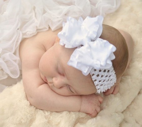 White Double Ruffle Hair Bow Headband