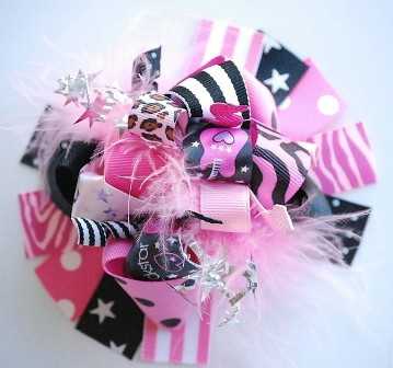 Rock Star Loopy Hair Bow-pink and black, guitar, zebra, leopard, cheetah, girly, boutique hair bow