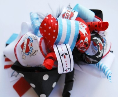 Rock 'N Love Tatoo Loopy Hair Bow-red, blue, black and white, boutique hair bow