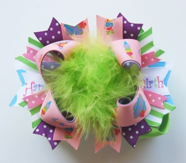 Birthday Girl - Over-the-Top Hair Bow-happy birthday party, boutique hair bow, lime green, light pink, hot pink, lavender, purple, light blue, colorful