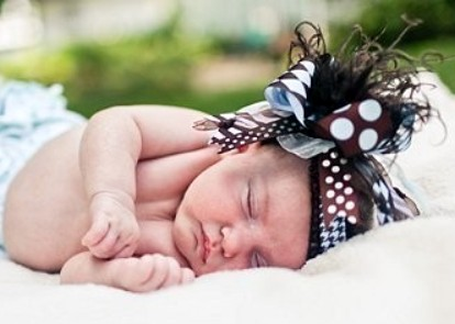 Baby Blue & Brown - Over-the-Top Hair Bow Headband