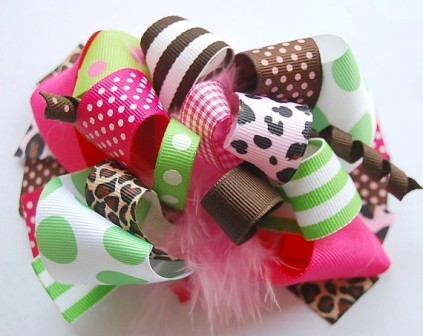 Trendy Cheetah Loopy Hair Bow-hot pink, lime green, brown and cheetah, leopard, boutique hair bow