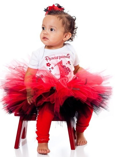 Mouse Ears Red Black First Birthday Tutu Set-infant, baby girl, onesie, tutu, birthday set, outfit, black, mouse, minnie mouse, red, mickey, disney