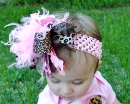Pink Camo & Leopard - Over-the-Top Hair Bow Headband-pink, leopard, infant, baby, headband, boutique over the top hair bow