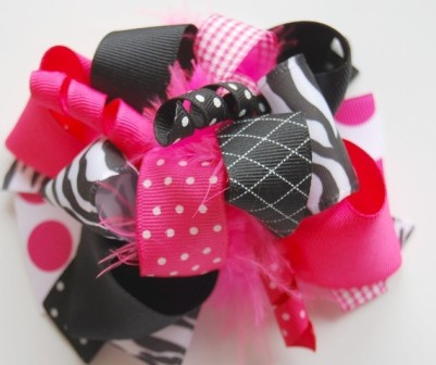 Sassy Zebra Loopy Hair Bow-pink, black zebra, boutique hair bow, baby girl