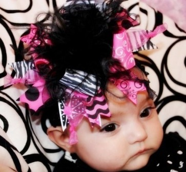 Hot Pink Black & Zebra - Over-the-Top Hair Bow-pink, hot pink, black, zebra, over the top boutique hair bow