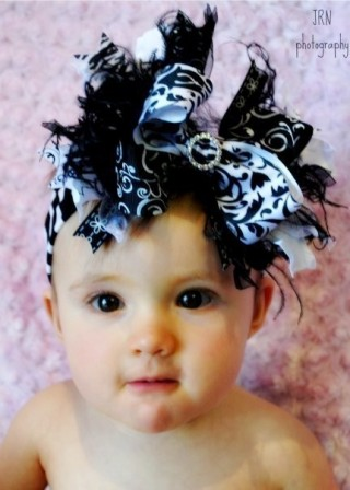 Black & White - Over-the-Top Hair Bow Headband-black, white, infant, baby, headband, boutique over the top hair bow