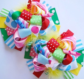 Colorful Fun Loopy Pigtail Hair Bow Set-colorful boutique hair bows, pigtails, pigtail Set