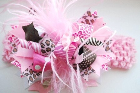 Pink Cheetah - Over-the-Top Hair Bow Headband-pink, brown and cheetah print, animal print, funky, boutique hair bow, infant, baby, headband