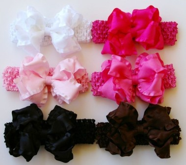 Ultimate Princess Double Ruffle Hair Bow Gift Set of 6-set, hairbow, bows,