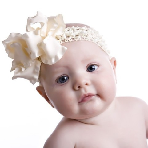 Cream Ivory Double Ruffle Hair Bow Headband