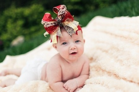 Christmas Red & Gold Cheetah Over the Top Hair Bow Headband