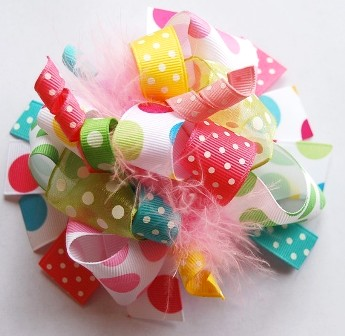 Pastel Rainbow Loopy Hair Bow-colorful, party, boutique hair bow, cotton candy pink, yellow, lime green and aqua